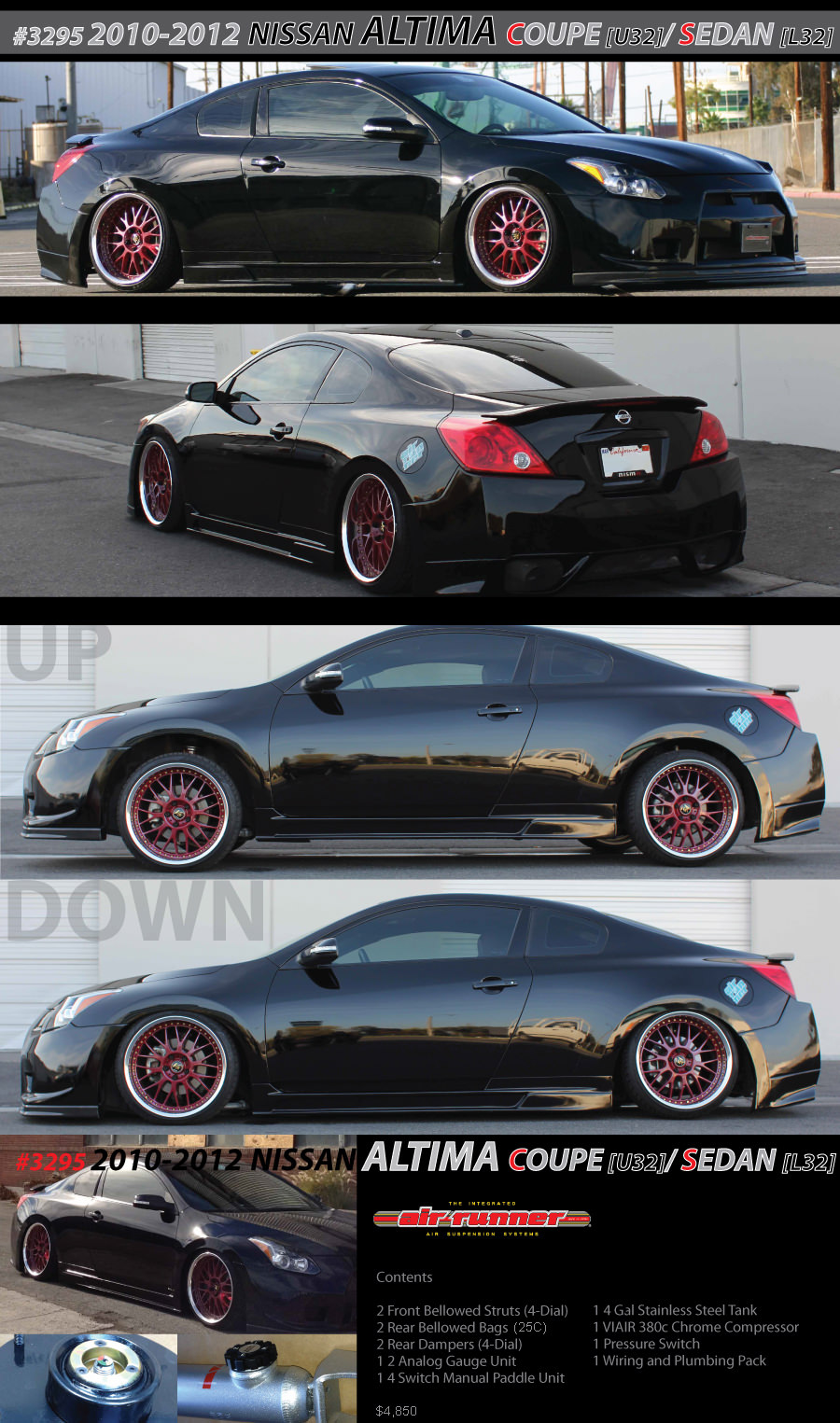 3295 2010-2012 nissan altima coupe / sedan | air runner systems